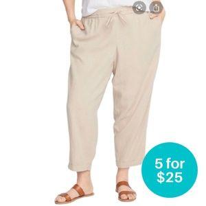 5/$25 - Old Navy Linen Blend Crop Pants Beige XL